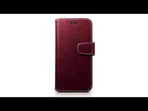 Samsung Galaxy A5 2017 Portemonnaie-Hülle aus PU-Leder Farbe: Rot / Weiß Nähend