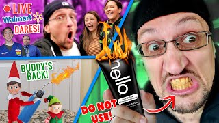 WALMART PUBLIC DARES LIVESTREAM + DON'T BUY HELLO CHARCOAL TOOTHPASTE (FV FAMILY BUDDY THE ELF BACK)
