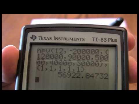 TI-83 and TI-84 Capital Budgeting Three --  NPV