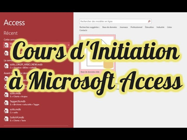 Cours Formation Initiation à Microsoft Access : Découvrez https://www.sollo.co 100% en Access