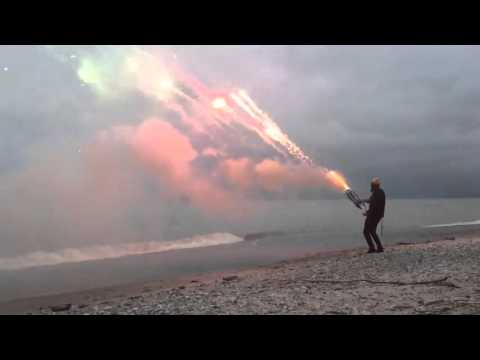 A Minigun Made With Roman Candles Looks Like An Alien Space Weapon