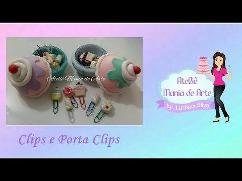 Porta clips e clips decorado