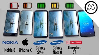 Samsung Galaxy S9+ vs Apple iPhone X vs Samsung Galaxy Note8 vs OnePlus 5T Battery Life DRAIN TEST
