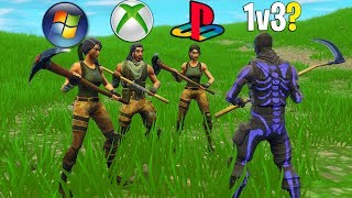 I challenged a PC, PS4, & Xbox player to a 1v3 on Fortnite! (INSANE Build Battles!)