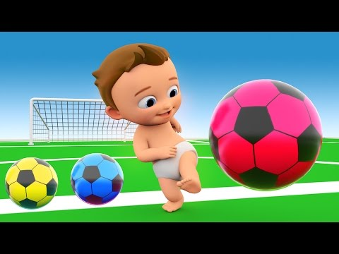 Learn Colors with 3D Balls for Children, Toddlers and Babies - Colours with Baby Play Soccer Balls