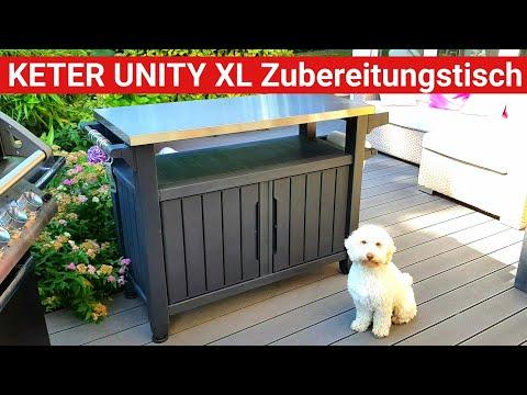 ♨️ GRILLBLITZ: KETER Unity XL, BBQ Zubereitungs-Tisch, graphit, 17202967, Grill Beistelltisch 6131
