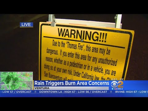 Evacuation Orders Issued As First Storm Hits Thomas Fire Burn Areas
