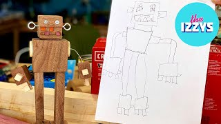 My son drew a robot and I built it out of walnut.