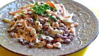 Салат из фасоли с колбасой, простой и сытный