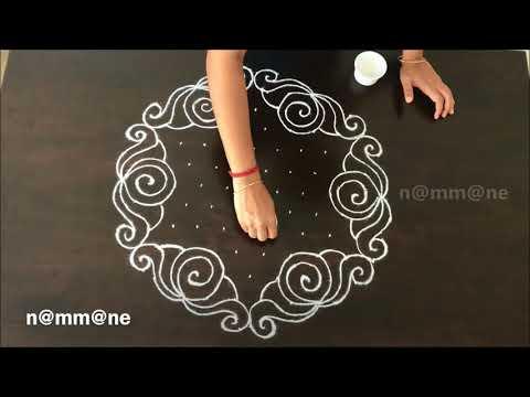 beautiful rangoli design with dots by nammane