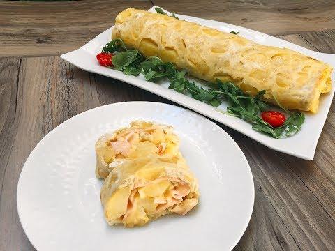 Rollo de tortilla de patatas con jamón york y queso - Monsieur Cuisine