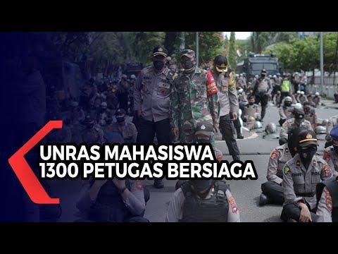 unjuk rasa satu tahun jokowi-ma ruf di banjarmasin petugas siagakan ribuan personel