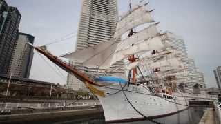 帆船日本丸の総帆展帆作業