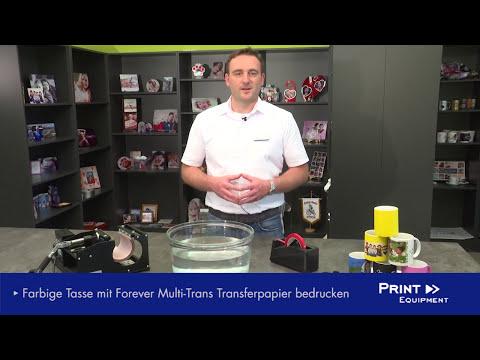 Druck auf Feststoffe (hier: farbige Tasse) mit Forever Transferpapier