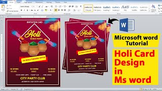 12:43 Now playing Make Awesome Holi Card Design using by Microsoft Office word || Holi card Design learn in Ms word - PLAYING