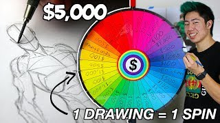 1 DRAWING = 1 SPIN ! Art Roulette - $5,000 (speed drawing challenge)