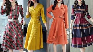 Attractive And Stylish Aline Midi Dresses For Working Womens //Knee Length Skater Dresses