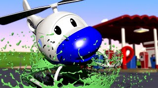 Odtahové auto pro děti - Vrtulník Hektor upustil plechovku z barvou a zřítil se