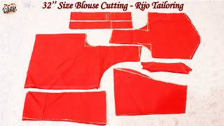 32 size blouse cutting in tamil | 32 inch normal blouse cutting detail explanation for beginners