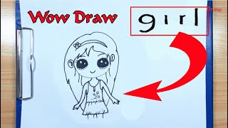 How To Draw A Girl - How to turn words GIRL into a Cartoon - Drawing Girl Cute - Cute a Girl