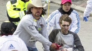 Man in cowboy hat helps injured in Boston