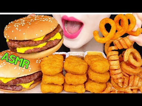 ASMR MCDONALDS DOUBLE CHEESE BURGER, CHICKEN NUGGETS, CURLY FRIES 맥도날드 햄버거, 치킨너겟 먹방 EATING SOUNDS