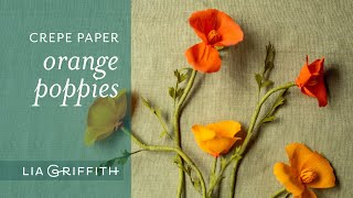 DIY Orange Crepe Paper Poppy Flower