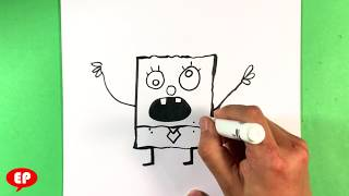 How to Draw Spongebob Squarepants - Doodlebob - Step by Step for Beginners - Easy Pictures to Draw
