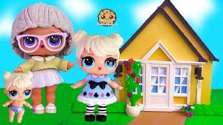 Grandma 's House ! LOL Surprise Big + Lil Sister Cookie Swirl C Toy Video