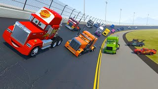 Race Trucks Daytona - McQueen Truck Mack Color Trucks and Friends Videos for Kids & Songs