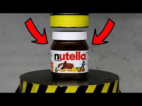 EXPERIMENT HYDRAULIC PRESS 100 TON vs NUTELLA