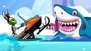 Водяной заезд на СНЕГОХОДЕ - новый режим Машинки Хилл Климб Рейсинг 2 секреты игры Видео для детей