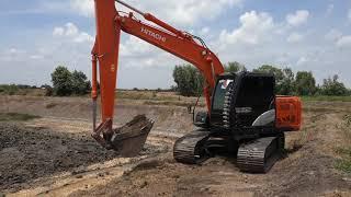 รถแม็คโคร HITACHI 130 ถมดิน ขุดบ่อ ทีมงาน เสี่ยหนุ่ย ทรัพย์โสธร หินมูล บางเลน นครปฐม EP.1