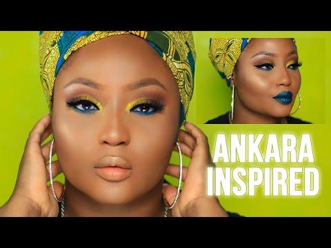 Summer Yellow Blue Ankara Inspired Makeup Tutorial | Youkeyy