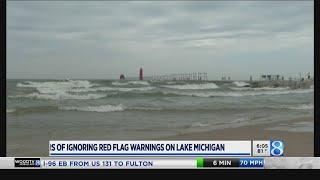 Despite Red Flags, Some Swim In Lake Michigan