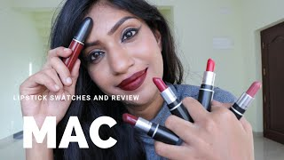 Lipstick Swatches And Review | MAC - Ruby Woo ♡ Diva ♡ Twig ♡ D For Danger & Carnivores Lipstick ♡