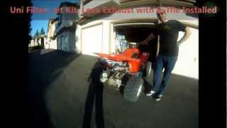 TRX400ex top speed intake exhaust and jet kit before and after video