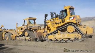 Cat's pushin cans… CAT D10N & D10T dozers push loading CAT 651B & 651E scrapers