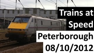 preview picture of video 'Trains at Speed -  Peterborough 08/10/2012'