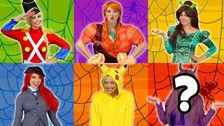 DISNEY PRINCESSES GUESS  HALLOWEEN COSTUMES (Pretend Play with Ariel, Rapunzel, Belle, Elsa & Anna)