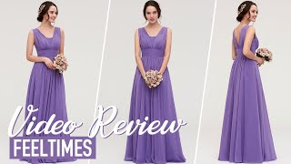 Bridesmaid Dress M18160B丨Tahiti Long/Floor-Length Chiffon Bridesmaid Dress With Pleated  - FeelTimes