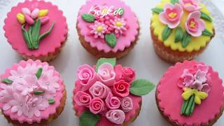 Fondant Flowers - Floral Cupcake Toppers For Mothers Day
