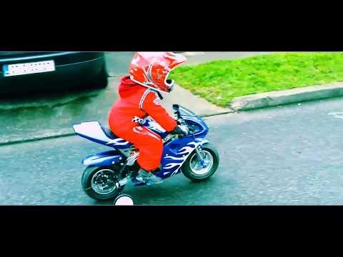 3 Years Old Child on Electric Pocket Bike 36V - Video