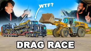 Digger vs Low Loader with trucks: DRAG RACE