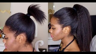 High Ponytail using Clip ins in short hair.