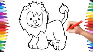 How To Draw A Lion | Coloring For Kids | Drawing And Painting Animals Art