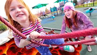 Saving Adley from LAVA!! Family finds a hidden park! RUNNING OUTSIDE! mom is a pink lava monster!