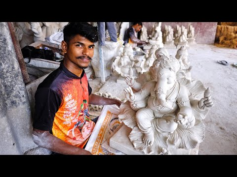 sculpture of lord ganesha in the making
