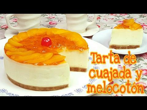 Tarta de cuajada y melocotón, postre sin horno | Mi tarta preferida
