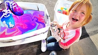 HYDRO Dipping Custom Shoes!! Adley Learns To Make Tie Dye Pumpkins And Our New Lake House Makeover!